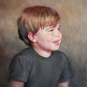 oil portrait painting of a smiling boy looking to his left
