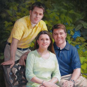 oil portrait painting of three adult siblings outside