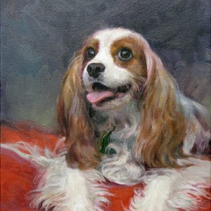 portrait painting of a Cavalier King Charles Spaniel