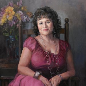 portrait painting of a brunette woman wearing a magenta dress and silver jewelry