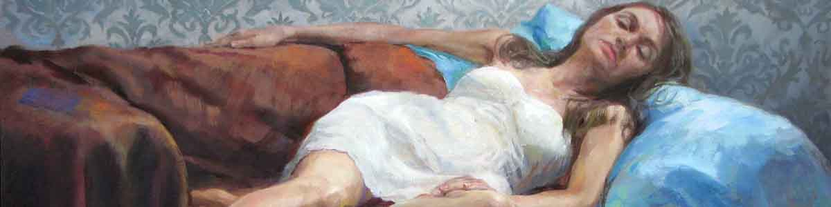brunette woman wearing white dress reclining in a painting by Shane McDonald