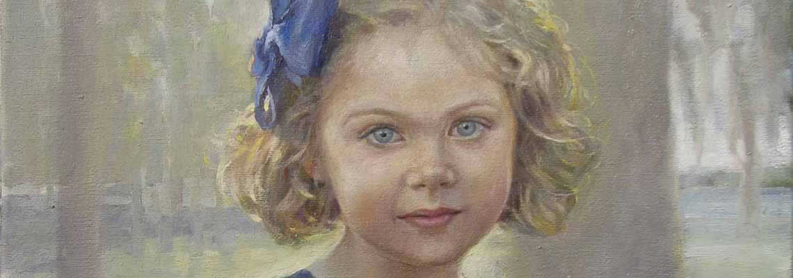 detail of a painting of a young girl's angelic blue eyes