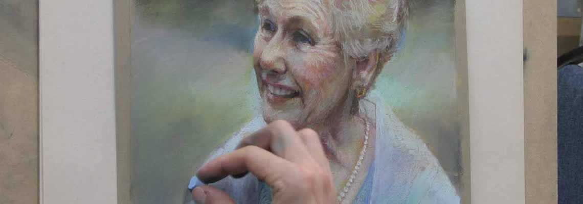 Pastel painting of smiling elderly woman by Shane McDonald