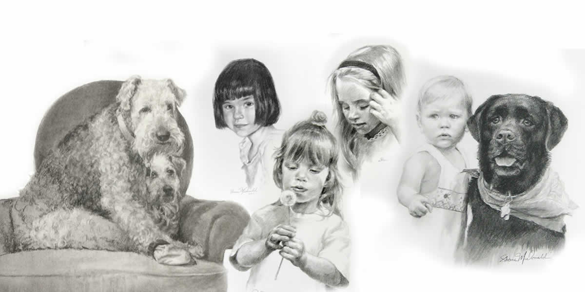 compilation of charcoal drawings of children and dogs - cropped
