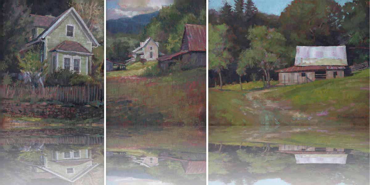 compilation of plein air paintings of green house white farm house and barn by Shane McDonald