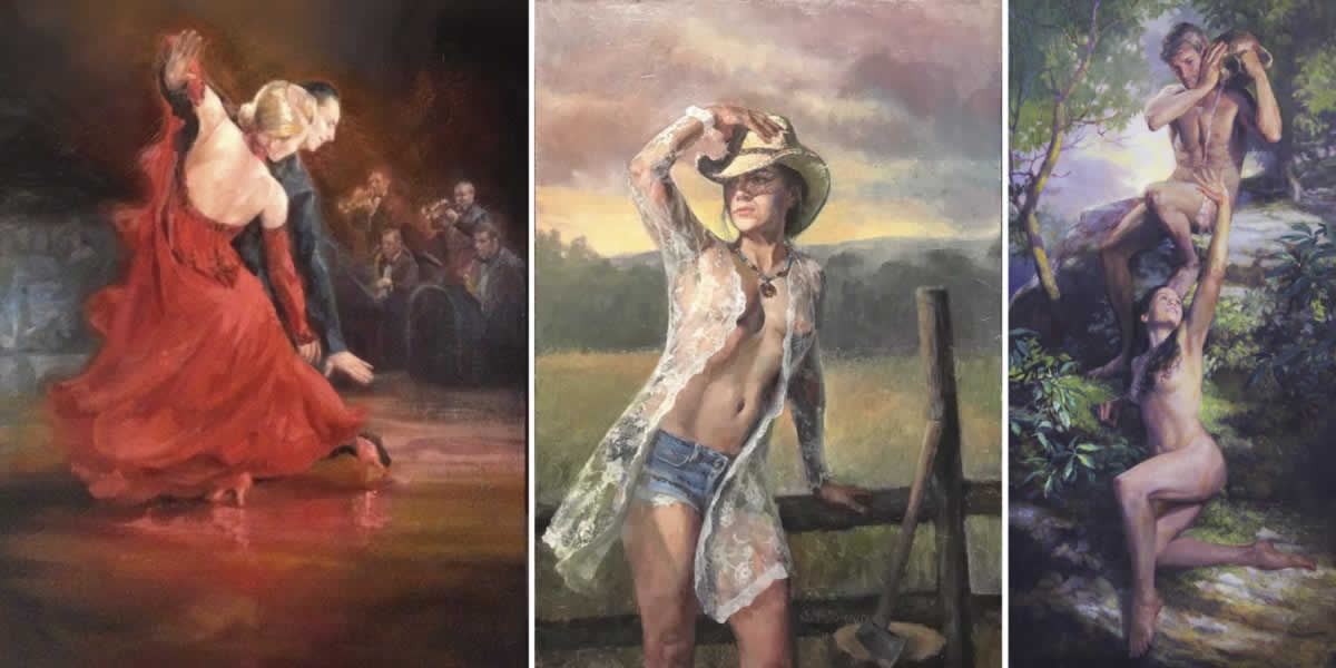 ballroom dancers - a cowgirl - male and female nude - paintings by Shane McDonald