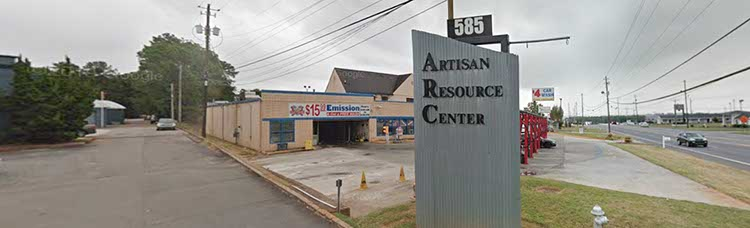 view of Artisan Resource Center Sign on Hwy 41 at 585 Cobb Pkwy S