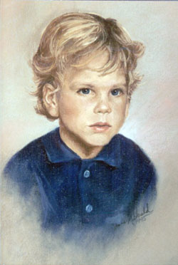 pastel portrait drawing of young blonde boy wearing a blue shirt