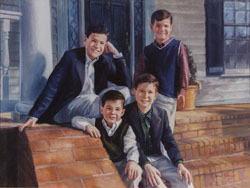 oil portrait painting of four boys seated on brick steps