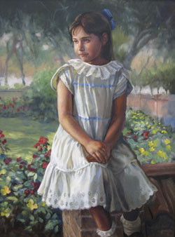 oil portrait painting of a young brunette girl posing at a walled garden wearing a white dress