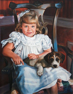 oil portrait painting of a young blonde girl wearing a white dress seated on a wooden chair with a puppy on her lap