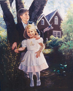 oil portrait painting a brother and sister in front of an Atlanta-neighborhood house