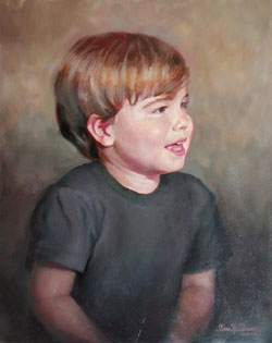 oil portrait painting of a smiling boy looking to the right