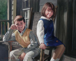oil portrait painting a brother and sister on a rocking chair sitting on a house porch