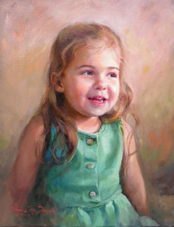 oil portrait painting of a young laughing girl with brown hair and a green dress