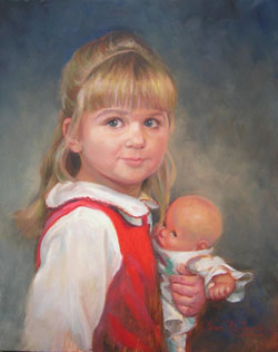 oil portrait painting of a young girl wearing a red dress and holding a doll
