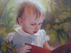 oil portrait painting of a baby reading in a dreamworld fantasy background
