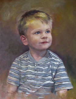 oil portrait of a young boy wearing a horizontal-striped shirt
