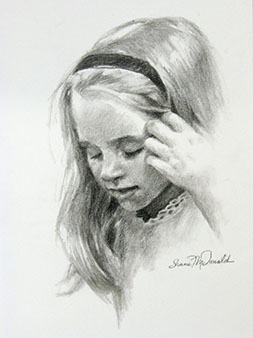 charcoal portrait drawing of a girl looking down