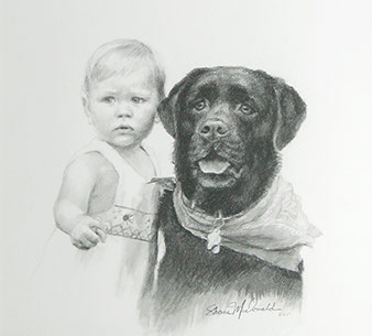 charcoal portrait drawing of a baby with a large black dog