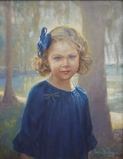 oil portrait of a young blonde girl wearing a dragonfly pin and a blue ribbon in her hair