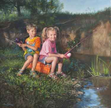 oil painting of brother and sister fishing in a creek while seated on a tackle box