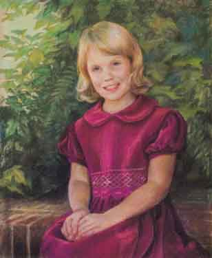 pastel painting of a seated blonde girl wearing a burgundy dress