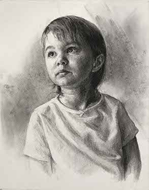 charcoal portrait of a young brunette girl looking up to the left