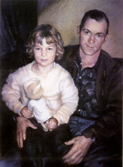 Pastel portrait from old photo of father and child