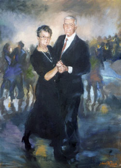 Loosly painted genre portrait of a dancing elderly couple in the setting of a ballroom invented from the reference of snapshot photographs