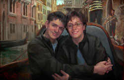 Portrait painting of a man and woman embraced on a gondola in Venice