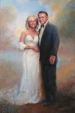 Soft formal oil portrait of a couple in formal attire
