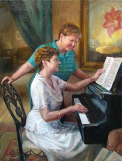 painting of a woman playing piano for another woman