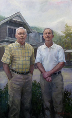 oil portrait of two men in front of a house