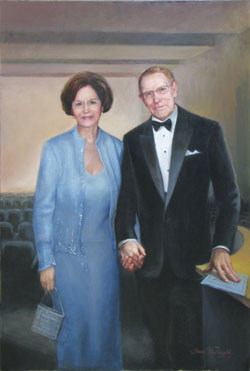 oil portrait painting of a couple wearing formal attire holding hands in an auditorium