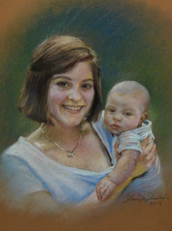 pastel portrait of a mother and her baby