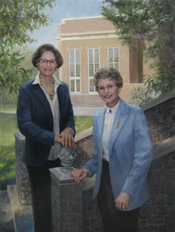 oil portrait of two women standing before Berry College architecture