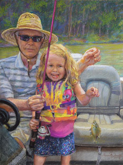 pastel portrait of a grandfather and his granddaughter holding a small fish at the end of a fishing line