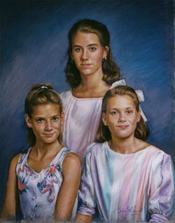 pastel portrait of three sisters posing
